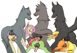 anal anal_sex animal_genitalia animal_penis antelon applejack_(mlp) ass balls blonde_hair canine cum cum_in_ass cum_inside earth_pony equine equine_penis erection feral flutterbat_(mlp) fluttershy_(mlp) friendship_is_magic from_behind_position group group_sex hair horse knot male male/male mammal mounting my_little_pony parallel_sex penetration penis pink_hair pony rule_63 sex tree_hugger_(mlp) wolf