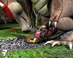 2003 3_toes big_penis claws dinosaur dragon forest frottage furry_only gay happy horn macro male no_humans penis rangarig raptor scalie size_play sizeplay smile teeth tree varby