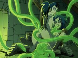 2girls anal_penetration areola ass ass_grab black_eyes black_hair boots breasts double_anal double_penetration extreme_ghostbusters female ghostbusters gloves kylie_griffin nipples on_knees paizuri penis_tentacles spread_legs tentacle tentacle_on_female vaginal_penetration zone