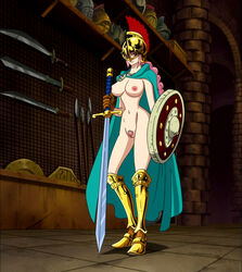armor braid breasts cape female garou_damenade helmet large_breasts long_hair navel nipples nude nude_filter one_piece photoshop pink_hair pubic_hair pussy rebecca_(one_piece) shield solo standing sword uncensored weapon