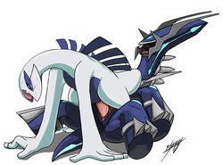 closed_eyes dialga female feral feral_on_feral legendary_pokemon lugia lying male nintendo on_back open_mouth pdxyz penetration plump_labia pokemon pussy sex straight sweat vaginal_penetration vaginal_penetration video_games