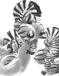 anthro arms_behind_head big_breasts breasts cigar cleavage dripping equine furry gideon huge_breasts hyper hyper_breasts lactating lips long_tongue looking_at_viewer muscles nipples solo tongue zebra