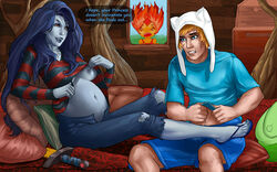 adventure_time angry areolae bed blue_hair breasts fangs finn_the_human flame_princess grey_skin long_hair marceline navel nipples pregnant red_eyes sandals shirt_lift spying undressing vampire vintem