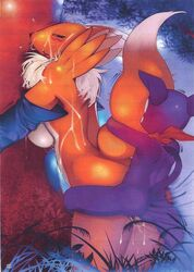 anthro blush breasts cum digimon doggy face female female_fox fox fur furry furry_only gloves imp impmon inside interspecies male mouth open penetration position renamon sex standing straight vaginal_penetration