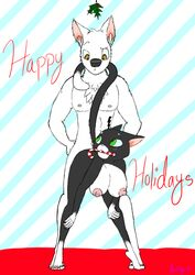 anthro anthrofied bent_over bolt breasts candy_cane canine canine christmas feline feline female green_eyes hair_tuft holidays interspecies male mistletoe mittens_(bolt) nude penetration raised_tail skadog straight straight_sex