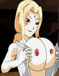 animated animation big_breasts blonde_hair breasts brown_eyes cleavage clothes female gif huge_breasts naruto naruto_shippuden nipples nude open_clothes open_robe simple_background snarus solo tsunade