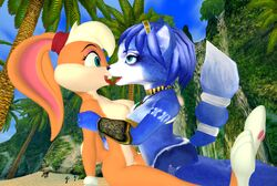 3d anthro areola blonde_hair blue_eyes blue_hair breasts canine crossover erect_nipples female fox hair kissing krystal lagomorph lola_bunny nipples nude rabbit space_jam star_fox valentinexredfield video_games warner_brothers yuri