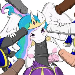 2015 alicorn animal_genitalia animal_penis anthro anthrofied balls blush breasts dickgirl dickgirl/male disembodied_penis equine equine_penis erection faceless_male feathered_wings feathers fellatio first_person_view friendship_is_magic group hair handjob hi_res horn intersex intersex/male long_hair looking_at_viewer looking_up male male_penetrating mammal my_little_pony nipples oral oral_penetration penetration penis penis_everywhere poprocks precum princess_celestia_(mlp) royal_guard_(mlp) sex vein wings