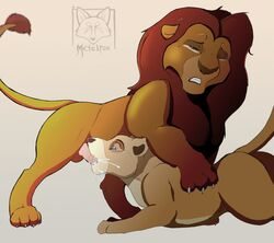 anthro balls cum cum_in_mouth cum_inside disney erection feral feral_on_feral furry metalfox penis simba the_lion_king