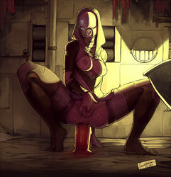 1girl alien anal anal_dildo areola ass breasts dildo dildo_sitting faustsketcher female fingering mass_effect masturbation nipples pussy quarian solo sweat tali'zorah_nar_rayya