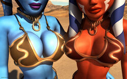 2girls aayla_secura ahsoka_tano alien bikini breasts female female_only kondaspeter large_breasts metal_bikini star_wars yuri