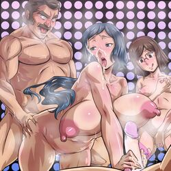 1boy 2girls age_difference areolae blue_eyes blue_hair breasts brown_eyes brown_hair censored cum cumdrip facial female glasses gundam gundam_build_fighters handjob high_resolution huge_breasts iori_rinko kousaka_china male milf multiple_girls navel nipples nude oboro-taki open_mouth orgy penis puffy_nipples ral-san self_fondle sex short_hair small_breasts standing straight sunrise_(company) tongue unaligned_breasts vibrator