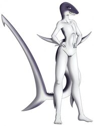 2014 anthro eyelashes female fin fish half-closed_eyes itsuko103 looking_at_viewer marine nude plain_background pussy shark smile solo standing teeth white_background