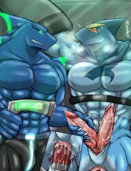 2013 abs anal anal_sex anthro biceps blue_body blush bondage bound bulge clothing cum cum_in_ass cum_inside erection fish fleshlight furry_only gay gloves green_eyes grin handjob male marine mask masturbation multi_cock muscles no_humans pants pecs penetration penis precum ryuukikeito sex sex_toy shark slit spandex steel_shark_(character) superhero sweat teeth tight_clothing todex_(character) topless torn_clothing