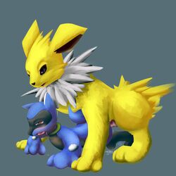 3_toes ambiguous_gender animal_genitalia black_fur blue_fur canine canine_penis cum eeveelution feral fur jolteon male mammal nintendo open_mouth penis pokemon pussy_juice riolu simple_background toes tongue tongue_out video_games vswitch white_fur yellow_fur
