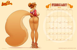 2014 ass big_breasts big_butt big_tail bottomless breasts brown_hair calender clothing female fluffy_tail freckles fur green_eyes hair hi_res lips long_hair looking_back orange_fur penny_flynn ponytail pussy rodent shirt shoes solo squirrel standing thighs tied_hair zaftigbunnypress