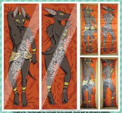 anthro anubis canine dakimakura deity dreaddenimpirate fur furry jackal male mammal pillow