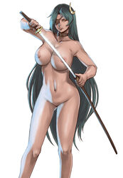 areolae azasuke blue_hair breasts collarbone date_masamune date_masamune_(sengoku_collection) eyepatch female green_hair high_resolution huge_breasts katana legs long_hair looking_at_viewer navel nipples no_pussy nude rule_63 sengoku_collection simple_background solo standing sword thighs very_long_hair weapon white_background yellow_eyes