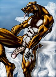abs anthro balls biceps big_muscles big_penis diego_(ice_age) erection fangs feline fur furry grin ice_age male male_only mammal muscles nipples nude pecs penis saber_tooth_tiger sabertooth sakuseii smilodon solo spread_legs spreading tiger wallpaper water