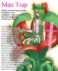 alraune blur blush breasts crown english_text eyes female flora_fauna flower green_hair hair hair_over_eye hair_over_eyes hard_translated leaves man_trap monster monster_girl nipples nude pink_body pink_skin plain_background plant red_eyes smile solo tentacle text the_more_you_know translated trick unknown_artist vines white_background