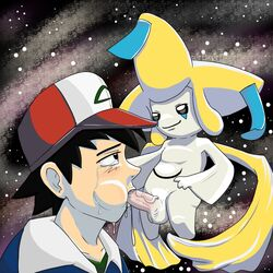 2014 3_fingers anthro balls black_eyes clothed clothing crying cum cum_in_mouth cum_inside cum_on_face cum_on_penis cum_string erection fellatio gay hair happy hat headgear human jacket jirachi legendary_pokemon littletlk looking_down looking_up male nintendo open_mouth oral oral_sex orgasm outside penis pokemon pokemon_trainer satoshi_(pokemon) sex shadow shiny shirt short_hair size_difference sky smile star tears vein video_games