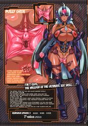 anus aqua_hair areolae artificial_vagina bare_shoulders black_gloves blue_eyes blush boots breasts bursting_breasts character_profile choker close-up cosine dark_skin female gloves hard_translated headgear high_resolution hips holding huge_breasts labia_clamps large_areolae long_hair looking_at_viewer measurements namco nippleless_clothes nipples project_x_zone pussy pussy_data sex_toy shiny shiny_skin smile solo spread_pussy standing t-elos thigh_boots thighhighs translated uncensored very_long_hair wide_hips xeno_(series) xenosaga