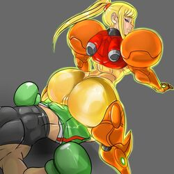 1boy ass blue_eyes boxing_gloves buttjob clothed_sex dat_ass erection_under_clothes female grinding highres huge_ass little_mac mandragoria metroid no_headwear no_helmet punch_out samus_aran super_smash_bros. varia_suit