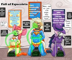 anthrofied apple_bloom_(mlp) applejack_(mlp) bondage bound collar dc electro_stim equine fall_of_equestria friendship_is_magic horse kryptonite mammal mare_do_well_(mlp) my_little_pony nipple_clamp nonconsensual pony smudge_proof supergirl superhero superman sweetie_belle_(mlp) sybian tears