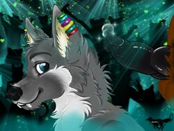 anthro balls blue_eyes cum dancing disco feline fellatio furry_only gay hair male mammal musik no_humans nucahfox oral oral_sex penis rainbow sax_(charakter) sex