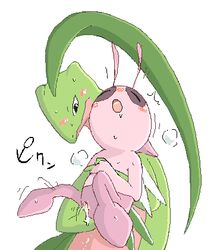 blush celebi duo female feral finger_fuck fingering grovyle male nintendo open_mouth pokémon_mystery_dungeon pokemon shiny_pokemon size_difference straight sweat unknown_artist vaginal_penetration video_games