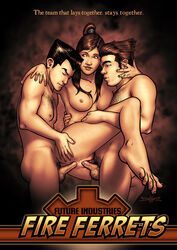 anal ass avatar_the_last_airbender black_hair bolin breasts dark_skin double_penetration female korra mako male nineself nipples nude penis ponytail pussy sex the_legend_of_korra threesome vaginal_penetration