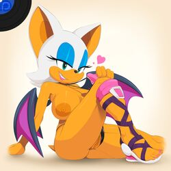 2014 absurd_res anthro areola bat big_breasts breasts erect_nipples female green_eyes heart hi_res huge_breasts human_feet looking_at_viewer mammal marthedog nipples pussy rouge_the_bat sega sitting smile solo sonic_(series)