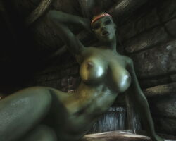 1girl 3d abs bedroom_eyes big_breasts braids breasts brown_hair female female_only green_skin headband humanoid kneeling large_breasts long_hair low-angle_shot lying mohawk muscular_female on_bed orc orc_female pointy_ears skyrim solo the_elder_scrolls thick_lips tusks