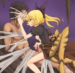 1boy 1girl areola arms_behind_back blindfold blonde_hair blush bondage bow boy_rape breasts breasts_outside brown_dress brown_eyes clothed_female_nude_male clothed_sex dra dress dridder extra_legs female female_domination femdom hairbow hand_on_head insect_girl kissing kurodani_yamame malesub monster_girl nipples partially_undressed penis ponytail rape restrained reverse_rape saliva saliva_trail short_hair sitting sitting_on_lap sitting_on_person smile spider_girl spider_web touhou