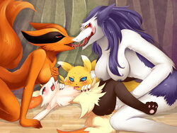 all_fours anthro blue_eyes blush braixen canine crying digimon drooling female fennec fingering fox furry kissing kneeling kurama kyuubi lying mammal naruto nintendo nipples nude on_back pawpads pedohika pokemon pussy_juice rain_silves red_eyes renamon saliva sergal size_difference tears tongue tongue_out video_games yellow_eyes yuri