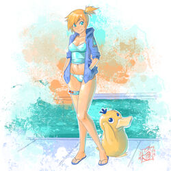 abysmal0 erect_nipples kasumi_(pokemon) pokemon psyduck swimming_pool swimsuit