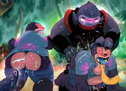 alien all_fours anal anal_sex ass biceps big_butt chubby clothing cum cum_in_ass cum_inside cumshot doggy_style dripping from_behind gantu gay hawaiian_shirt jumba_jookiba leaking lilo_and_stitch male messy muscles necktie orgasm overweight penetration penis rand saliva sex shirt shorts tree uniform