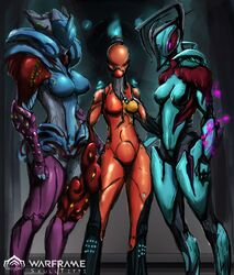 3girls blue_skin breasts orange_skin purple_skin warframe