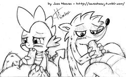 anthro balls black_and_white blush claws dragon drooling duo fangs fellatio friendship_is_magic fur furry_only gay half-closed_eyes hands jcoshooves lips male monochrome my_little_pony oral oral_sex paws penis plain_background raccoon regular_show rigby saliva scales sex spike_(mlp) white_background young