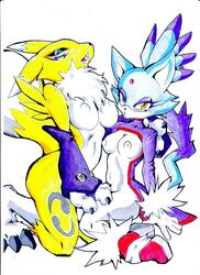amber_eyes anthro black_sclera blaze_the_cat blue_eyes blue_fur breasts canine clothed clothing crossover digimon digitigrade facial_markings feline female fox fur furry gloves half-dressed mammal markings plain_background renamon sega sonic_(series) unknown_artist white_background yellow_fur