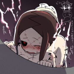blush breasts brown_hair painwheel_(skullgirls) red_eyes saliva short_hair skullgirls tagme