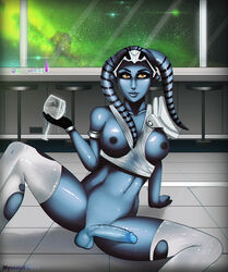 alien blue_skin breasts cum dickgirl erection futa_solo futanari navel nipples nyuunzi penis sitting star_wars testicles thighhighs twi'lek yellow_eyes