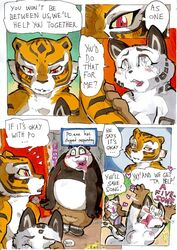 ... anthro areola bear better_late_than_never big_breasts blush breasts cleavage clothed clothing comic daigaijin dialog english_text feline female fondling heart horny kung_fu_panda ladies_of_the_shade male mammal master_tigress nude panda po song_(character) text tiger transformation
