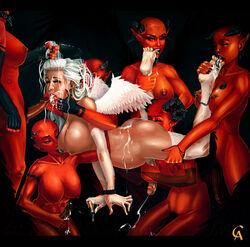 7girls angel angel_wings areola bondage breasts busty cleavage cum cum_in_mouth cum_on_ass cum_on_tongue demon demon_girls demon_horns dickgirl dickgirls ejaculation elbow_gloves erect_nipples erection facial fellatio futa_on_futa futanari gloves group_sex hair_pull handjob horns incase large_breasts long_hair newhalf nipples nude oral penis piercing pointy_ears pregnant red_skin restrained silver_hair tail voluptuous white_hair wings