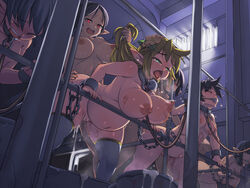6+girls ball_gag bent_over bondage bouncing_breasts breasts chains collar cum cum_drip cum_filled cum_in_bucket cum_in_container cum_in_pussy cum_in_uterus cum_inside deep_penetration from_behind futa_with_female futanari gadou_juku group_sex hair_grab hair_pull hanging_breasts helpless huge_belly huge_breasts immobile kawacchi_hirohiro line_up multiple_girls nude open_mouth orgasm pointy_ears pregnant restrained sex sex_slave slave source_request stomach_bulge sweat tears thick_thighs thighhighs tongue_out vaginal_penetration