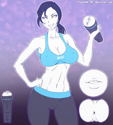 abs anus artificial_vagina black_hair cleavage erect_nipples female navel nintendo ponytail preyingphantom sex_toy smile solo standing tank_top white_skin wii_fit wii_fit_trainer