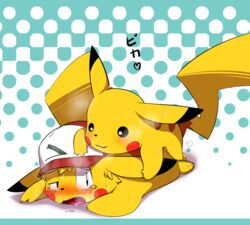 anal animated blush furry_only gay korokke1984 male nintendo pikachu pokemon satoshi_(pokemon) sweat video_games