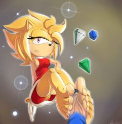 amy_rose ass bottomless breasts chaos_emerald footjob no_panties nolegal pussy sonic sonic_(series) super_amy