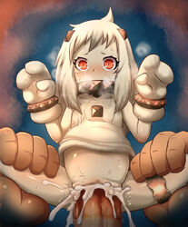 ahoge blush bracer breath censored covered_mouth crying crying_with_eyes_open cum cum_in_pussy dress eyelashes female flat_chest horns kantai_collection large_insertion leg_band leg_grab long_hair machimote_taikou mittens mosaic_censoring no_panties northern_ocean_hime penis pussy red_eyes sex shinkaisei-kan sleeveless sleeveless_dress solo_focus spread_legs stomach_bulge straight sweat tears white_dress white_hair white_skin