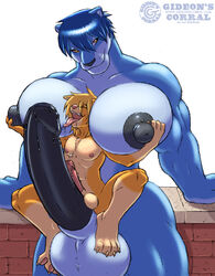 affection amber_eyes anthro big_blue_(gideon) breasts brick canine couple dripping erection feline frottage futanari gideon gigantic_breasts gigantic_nipples gigantic_penis gigantic_testicles large_penis large_testicles love male muscles muscular_futanari nipples no_humans panther penis sunny_(gideon) testicles tongue